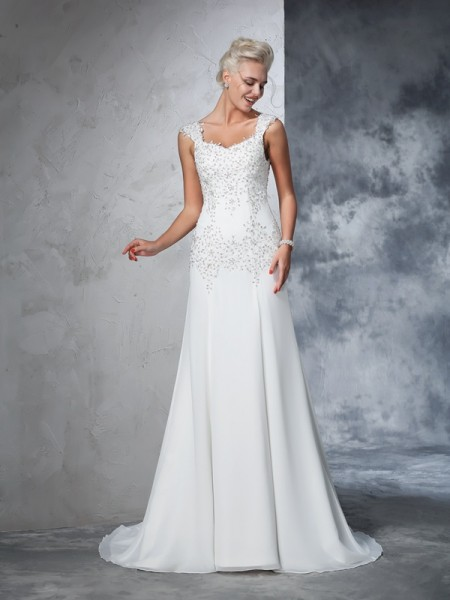 A-Line/Princess Straps Beading Sleeveless Long Chiffon Wedding Dresses