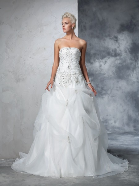 Ball Gown Strapless Beading Sleeveless Long Tulle Wedding Dresses