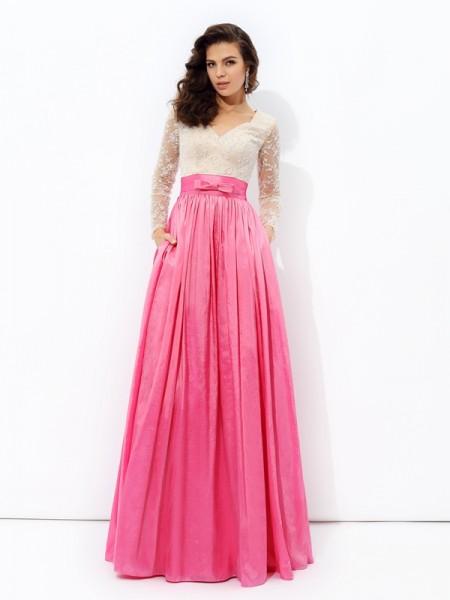 A-line/Princess V-neck Lace Long Sleeves Long Taffeta Dresses