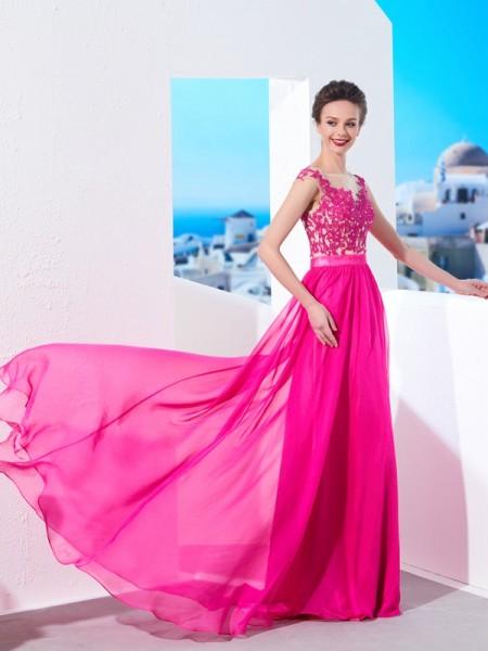A-Line/Princess Sleeveless Sheer Neck Sweep/Brush Train Applique Chiffon Dresses