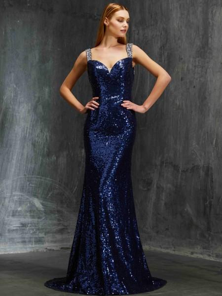 Sheath/Column V-neck Sleeveless Sweep/Brush Train Beading Sequins Dresses