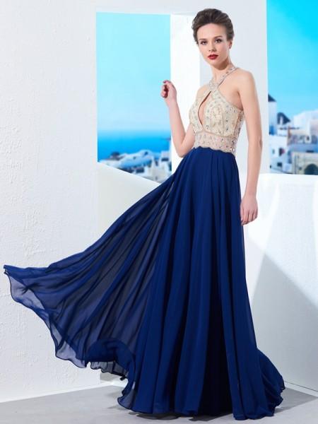 A-Line/Princess Sleeveless Straps Beading Chiffon Floor-Length Dresses
