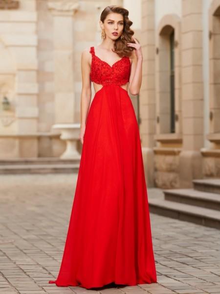 A-Line/Princess Straps Sleeveless Floor-Length Applique Chiffon Dresses