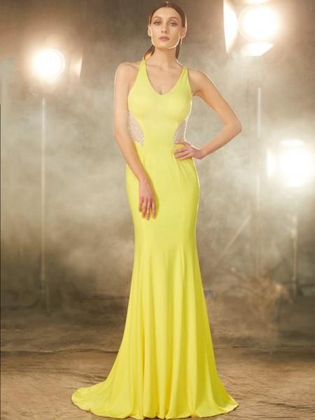 Trumpet/Mermaid V-neck Sleeveless Sweep/Brush Train Beading Spandex Dresses