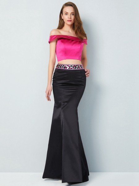 Trumpet/Mermaid Off-the-Shoulder Sleeveless Floor-Length Beading Satin Two Piece Dresses
