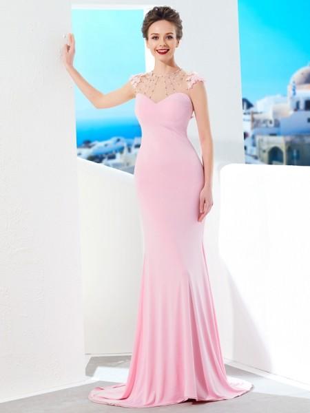 Trumpet/Mermaid Jewel Short Sleeves Sweep/Brush Train Beading Spandex Dresses