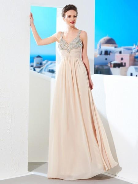A-Line/Princess Spaghetti Straps Beading Floor-Length Chiffon Dresses