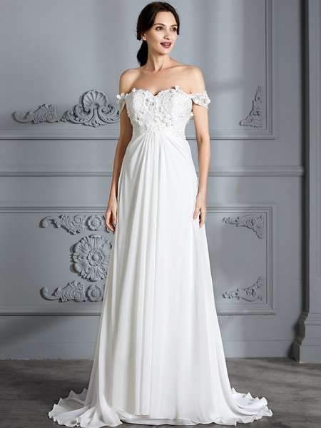 A-Line/Princess Off-the-Shoulder Sleeveless Chiffon Floor-Length Wedding Dresses