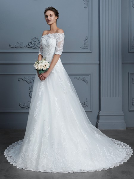 Ball Gown Off-the-Shoulder 1/2 Sleeves Beading Court Train Lace Wedding Dresses
