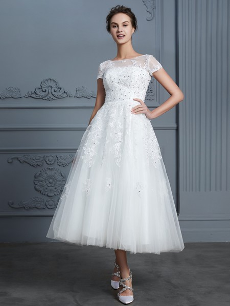A-Line/Princess Scoop Short Sleeves Tea-Length Beading Tulle Wedding Dresses