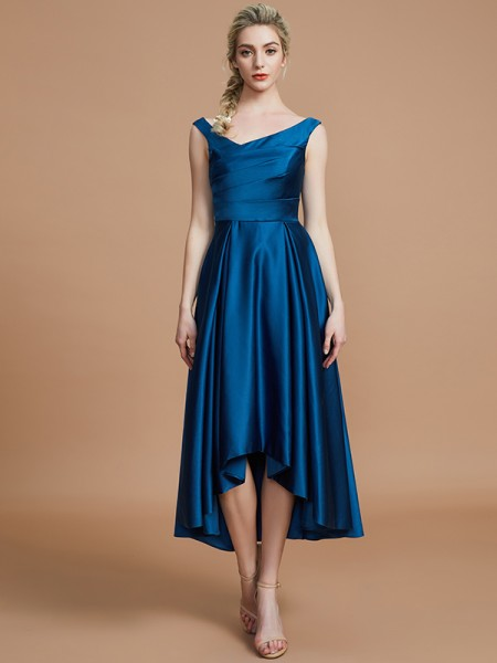 A-Line/Princess V-neck Satin Asymmetrical Sleeveless Bridesmaid Dresses