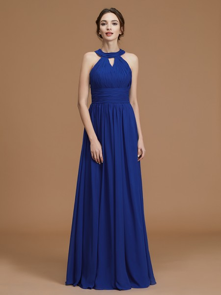 A-Line/Princess Halter Sleeveless Floor-Length Ruched Chiffon Bridesmaid Dresses