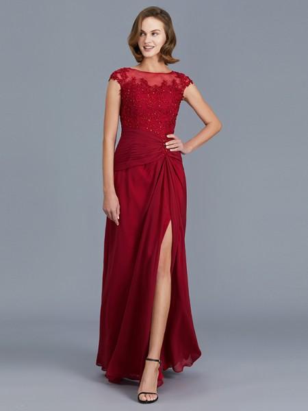 Sheath/Column Scoop Sleeveless Chiffon Ruffles Floor-Length Mother of the Bride Dresses