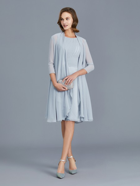 A-Line/Princess Scoop Ruffles Chiffon Knee-Length Sleeveless Mother of the Bride Dresses