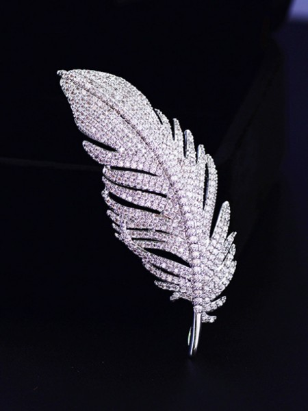 Ladies' Elegant Copper With Zircon Brooch