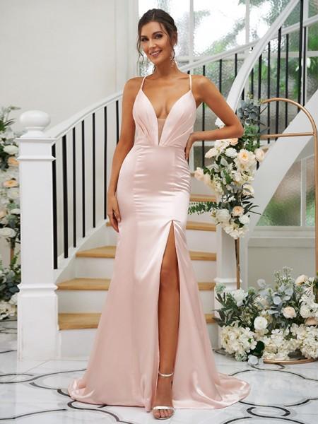 Sheath/Column Silk like Satin Ruched V-neck Sleeveless Sweep/Brush Train Bridesmaid Dresses