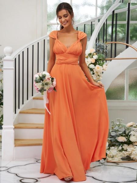 A-Line/Princess Jersey Ruched V-neck Sleeveless Floor-Length Bridesmaid Dresses
