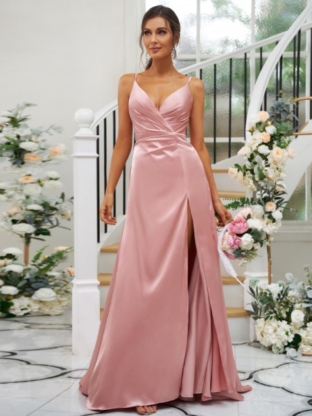 A-Line/Princess Silk like Satin Ruched V-neck Sleeveless Floor-Length Bridesmaid Dresses