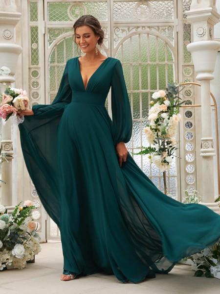 A-Line/Princess Chiffon Ruffles V-neck Long Sleeves Sweep/Brush Train Bridesmaid Dresses