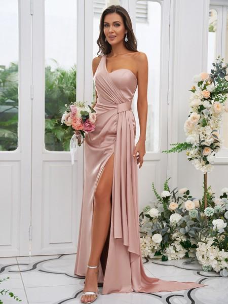 Sheath/Column Charmeuse Ruched One-Shoulder Sleeveless Floor-Length Bridesmaid Dresses