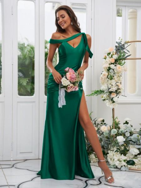 Sheath/Column Charmeuse Ruched Off-the-Shoulder Sleeveless Sweep/Brush Train Bridesmaid Dresses