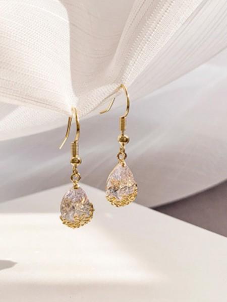 Ladies's Pretty Rhinestone With Water Drop Earrings