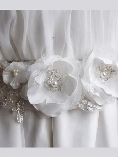 Pure Organza Sashes With Imitation Pearls/Flowers