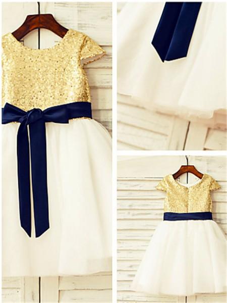 A-line/Princess Scoop Short Sleeves Sequin Tea-Length Tulle Flower Girl Dresses