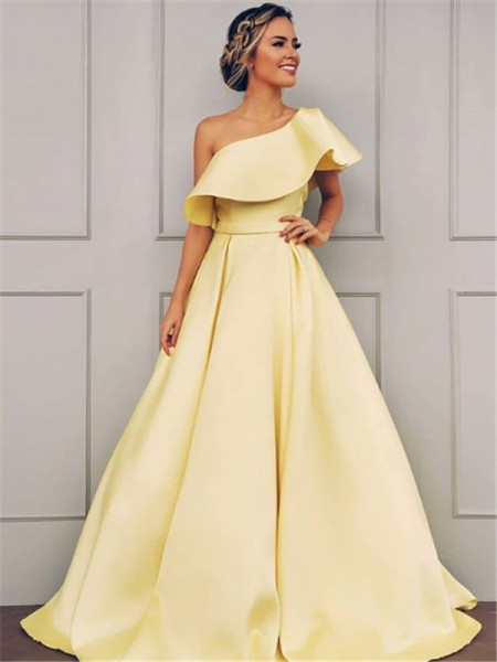 A-Line/Princess Sleeveless One-Shoulder Sweep/Brush Train Ruffles Satin Dresses