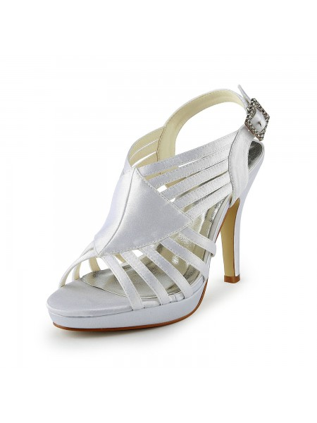 Women's Gorgeous Satin Stiletto Heel Sandals With Buckle White Wedding Shoes