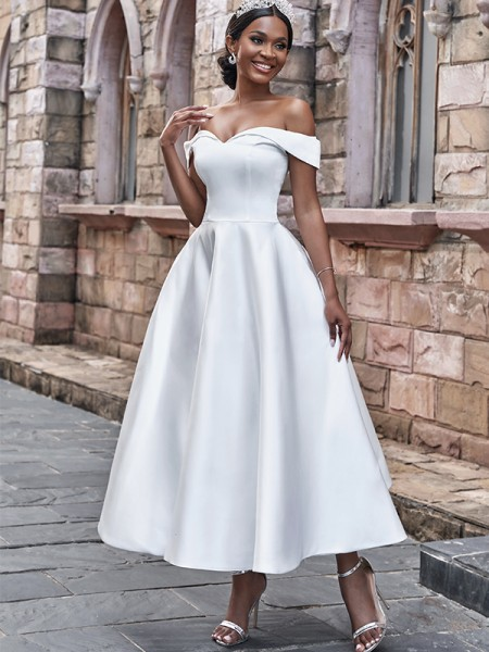 A-Line/Princess Satin Ruffles Off-the-Shoulder Sleeveless Ankle-Length Wedding Dresses