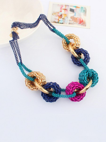 Occident Trendy Retro Metallic Collision color Hot Sale Necklace