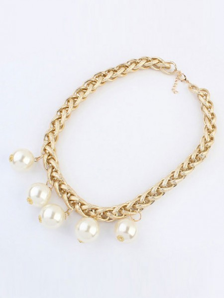 Occident Metallic Punk Imitation pearls Hot Sale Necklace
