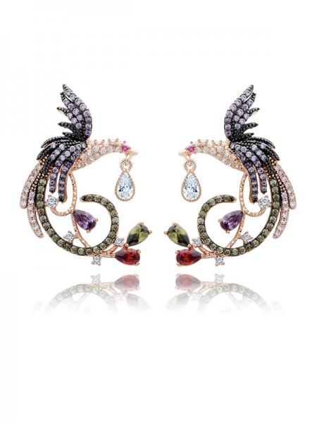 Unique Zircon With Cubic Zirconia Ladies's Earrings
