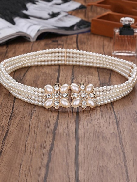 Elegant Elastic Imitation Pearls Sashes With Rhinestones