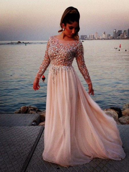Long Sleeves A-line/Princess Bateau Beading Floor-length Chiffon Dress