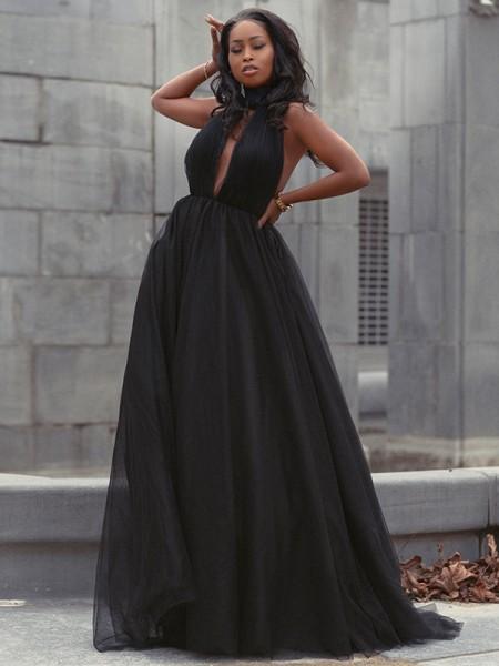 Ball Gown Tulle Ruffles V-neck Sleeveless Court Train Dresses