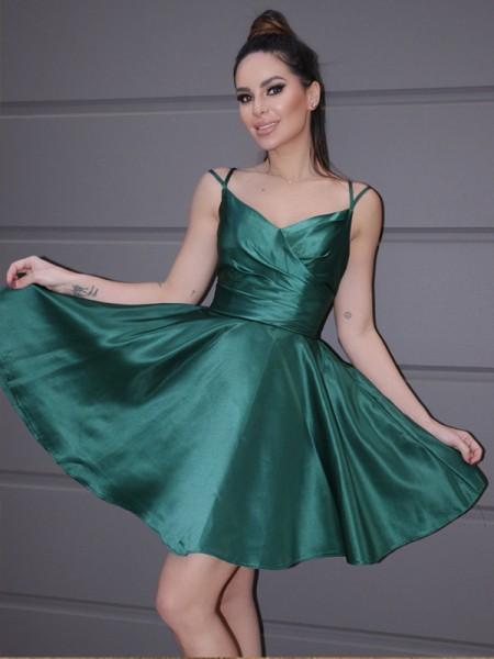 A-Line/Princess Satin Ruched Straps Sleeveless Short/Mini Homecoming Dresses