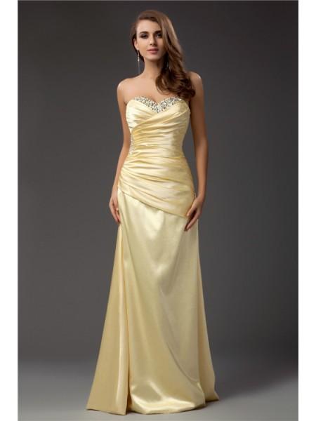 Sheath/Column Sweetheart Sleeveless Long Taffeta Dresses