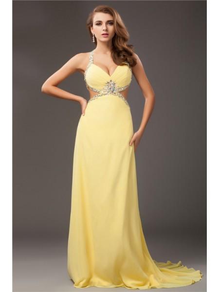 Sheath/Column Beading Halter Sleeveless Long Chiffon Dresses