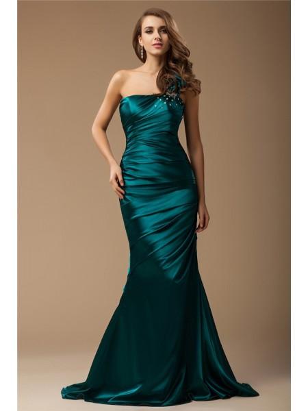 Trumpet/Mermaid One Shoulder Sleeveless Long Ruffles Beading Elastic Woven Satin Dresses