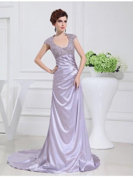 A-Line/Princess Scoop Long Beading Lace Elastic Woven Satin Dresses
