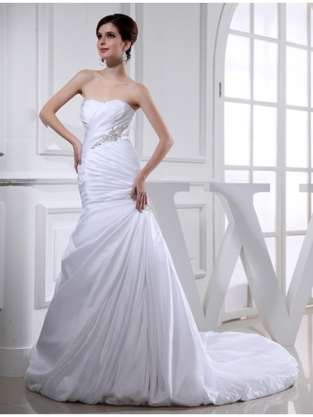 Beading Trumpet/Mermaid Long Taffeta Wedding Dresses