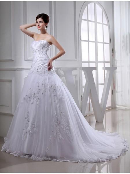 A-Line/Princess Beading Long Sleeveless Strapless Tulle Taffeta Wedding Dresses