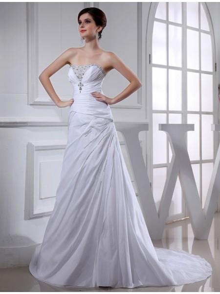 A-Line/Princess Beading Long Sleeveless Taffeta Wedding Dresses
