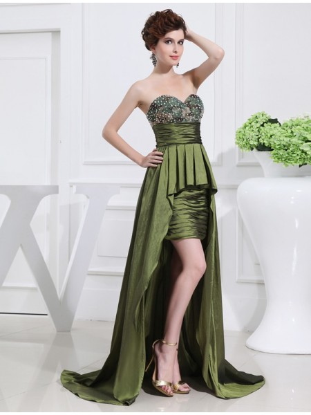 A-Line/Princess Beading Sweetheart Sleeveless High Low Taffeta Dresses