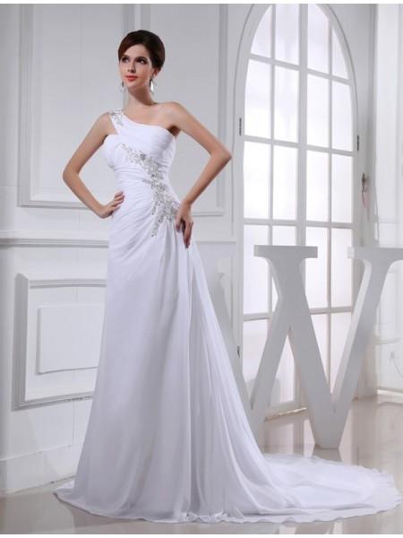 A-Line/Princess Beading One-shoulder Sleeveless Chiffon Applique Wedding Dresses