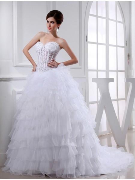 Ball Gown Beading Sweetheart Sleeveless Applique Organza Wedding Dresses