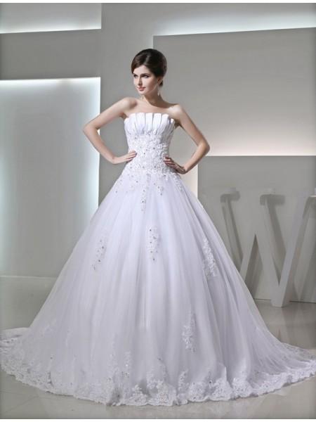 Ball Gown Beading Sleeveless Strapless Satin Applique Wedding Dresses