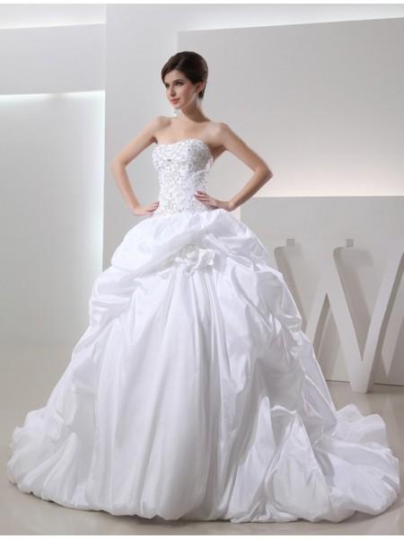 Ball Gown Beading Sleeveless Long Taffeta Wedding Dresses